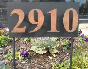 """Small Address Sign Custom Metal Sign w/ Floating Numbers 12"""" x 6"""" House Numbers Plate Plaque"""