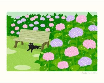 A3 size TABINEKO Art poster (Rain shelter) Cat illustration Print