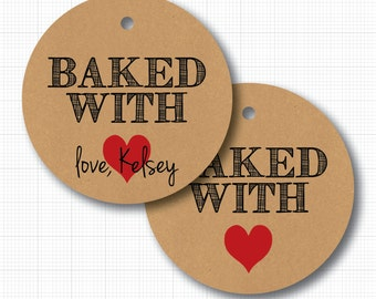 Baked with Love (heart) Kraft Tags . 20 Personalized Tags for Favors or Baked Goods (np)