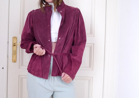 fittet jacket tailored jacker mauve leather leather jacket leather jacket jacket belted short jacket 80s Suede women's vintage waisted BZv8qxw