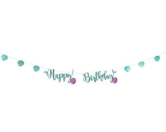 Happy Birthday Mermaid Banner, Iridescent Tassels, Mermaid Decor, Birthday Party Decor, Girl, Mermaid Sparkle, Mermaid shell,  Ocean, Beachy