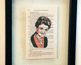 FRAMED Murder She Wrote Print on Vintage Novel Retired Library Book Page, Jessica Fletcher (Angela Lansbury)