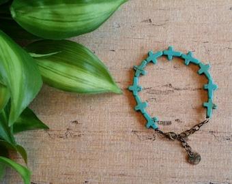 Southwest bracelet, Turquoise Bracelet, Native American style bracelet, boho bracelet, Blue Faith Cross Bracelet