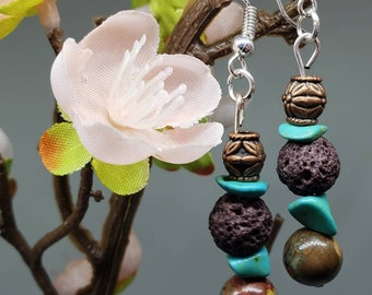 Earrings-Lava Stones-Turquoise-Diffuser-French Hook Earrings-Diffuser Earrings-Natural Stone-Boho