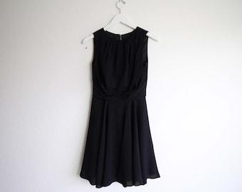 VINTAGE Dress 1950s Black Dress Short Circle Skirt Party Dress Small
