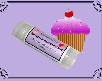 BUTTERCREAM CUPCAKE Lip Balm made with Shea Butter - .15oz Oval Tube