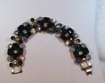 Emerald Green and Ab Bracelet