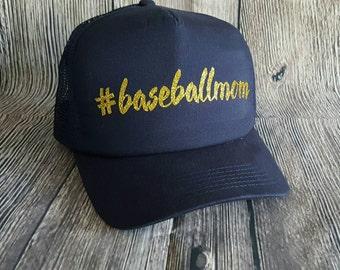 Baseball Mom Glitter Baseball Cap #baseballmom Navy Blue Trucker Snapback Trucker Hat with Gold Glitter