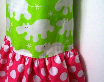 Girls Ruffled Bib Apron - Size L  -  Happy Hippos in Lime Green - Hot Pink Polka Dot