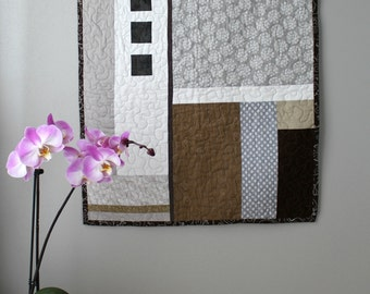 Textile Wall Hanging, Modern Wall Quilt, Abstract Wall Decor, Fabric Art, Small Quilt, Contemporary Fiber Art in Gray, Brown and White