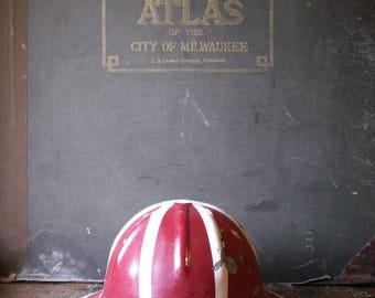 Vintage Red and White 1950's B.F. McDonald Aluminum Hard Hat - Well Drilling Safety Helmet with Original Leather Liner