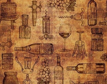 Quilting Treasures Brown Tan Rust Perfectly Vintage Wine Bottle Glass Fabric 25908-T BTY