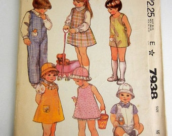Toddler girls sewing pattern of jumper, jumpsuit, hat, stuffed toys & floral transfers size 1/2 McCalls 7938 vintage from 1982