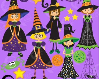 Halloween Clipart, Witches Clipart, Spiders and Buttons Clipart, Commercial Use, AMB-214