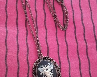Necklace cameo pendant bronze vintage cabochon kawaii Gothic pinup rockabilly skeleton fairy woman man