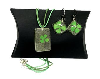 Green Resin Jewelry Clover earrings 4 Leaf clover jewelry Green Leaf Earrings Patrick Day Neclace Patricks Day Jewelry Set Four Leaf Clover