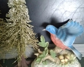 Vintagie Blue Bird Ceramic Figurine