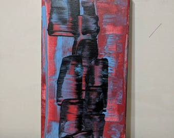 """Small original abstract painting """"figure"""" 6x12"""