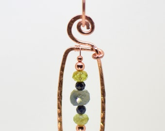 Emerald & Peridot or Peruvian Opal and Copper Pendant