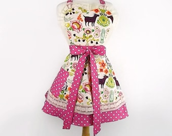 Vintage Inspired Doves and Flowers Apron