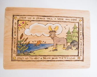 Customizable Wooden Moose Stool for Toddlers and Children Wood-burned and Hand-painted