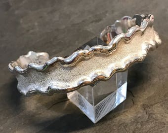 """6.5"""", independent jeweler Angela Erdy handmade sterling silver bracelet, solid 925 silver melted cuff, stamped 925 A.Erdy"""