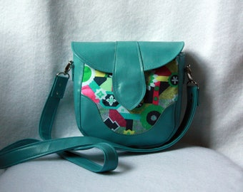 Small Cross Body Bag - Teal Vinyl / Faux Leather Bag with Amy Butler Cotton