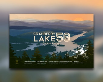 Cranberry Lake 50 Challenge • Adirondacks, NY Print • ADK Mountain Graphic • Hiking Decor Poster • New York • Wall Art Design