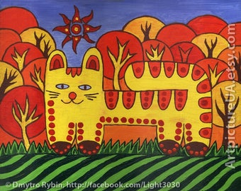 Magic cat on a green meadow. Painting with acrylic. 24 * 30 cm. Naive art. Painting for home and children.