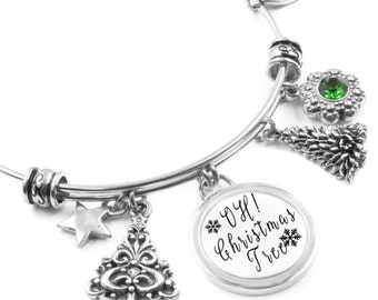 Christmas Tree Bangle Bracelet with Tree Charms, Star Charm and Emerald Crystal