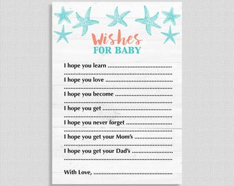 Beach Wishes For Baby Cards, Aqua & Coral Beach Baby Shower Activity, DIY Printable, INSTANT DOWNLOAD