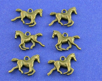 6 pcs - Horse Charm, Antiqued Brass Pony Pendant, Small Tiny Horse, 3-D Horse Running