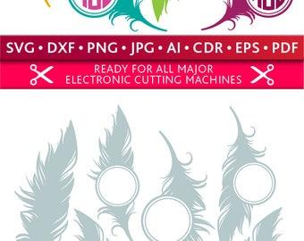 Feather Svg Feather Monogram Frames Svg Feather Frames Svg Feathers Svg Cut Files Silhouette Studio Cricut Svg Dxf Jpg Png Eps Pdf Ai Cdr
