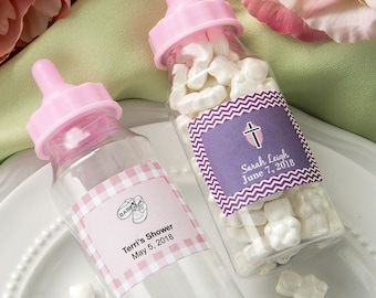 50 Personalized Clear Baby Bottle With Pink Screw On Top Favors - Set of 50