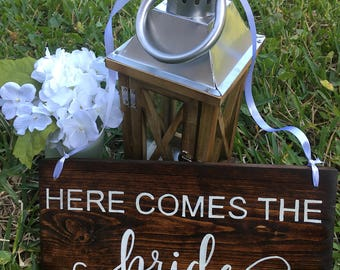 Wedding stuff etsy here comes the bride wooden sign used wedding decoration rustic spring wedding stuff junglespirit Choice Image
