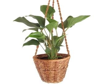 Boho Hanging Macrame Planter Basket Large Woven Wicker Rattan Plant Basket Jute Macrame Natural Decor Bohemian Woven Plant Holder Jungalow
