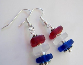 Sea Glass Earrings, Red White Blue, Patriotic Earrings, Stackable Squares, 4th of July, Silver, Beach Jewelry, beach earrings