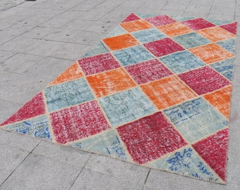 PAtCHwork rug , vintage turkish, oushak rug large vintage  home decor rugs, bohemian Turkish rug,