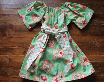 3 T Paisley Print with cherries - Peasant dress with Sash - Boutique Toddler