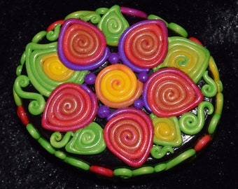 Rusty Orange and Purple Flower Polymer Clay Decorated Box