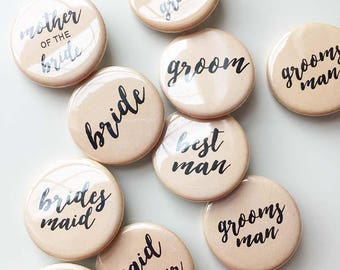 Bridal Party Pins - wedding buttons - peach and black - pack of 10 - 1.25 inch