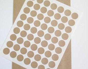 Kraft Labels   1 inch Round Labels Brown Kraft Stickers - Ink Jet or Laser Printable for Wedding Invitations, Scrapbooking, Packaging