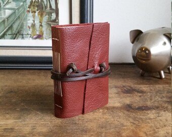 Handmade Leather Journal, Pocket-Size, Red Wine 3 x 4.5 Journals by The Orange Windmill 1803