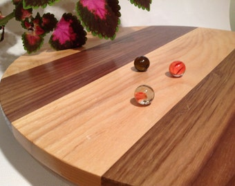 Lazy Susan Rotating Tray handmade from Ash and Walnut 14.5 inches