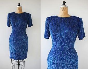 vintage 1980s dress / 80s blue sequin dress  / 1980s royal blue dress / 80s cocktail dress / 80s party dress / 80s beaded nye dress / medium