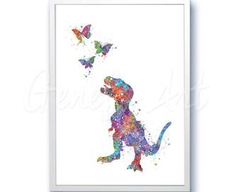 Dinosaur Baby Tyrannosaurus T-Rex Watercolor Art Print - Dinosaur Watercolor Art Painting - House Warming Gift