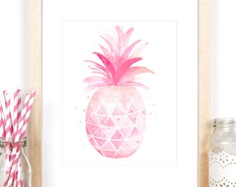 Girls Room Decor, Pineapple Print in A4 / 8x10 Size, Watercolour Print for Little Girls Room or Baby Girl Nursery