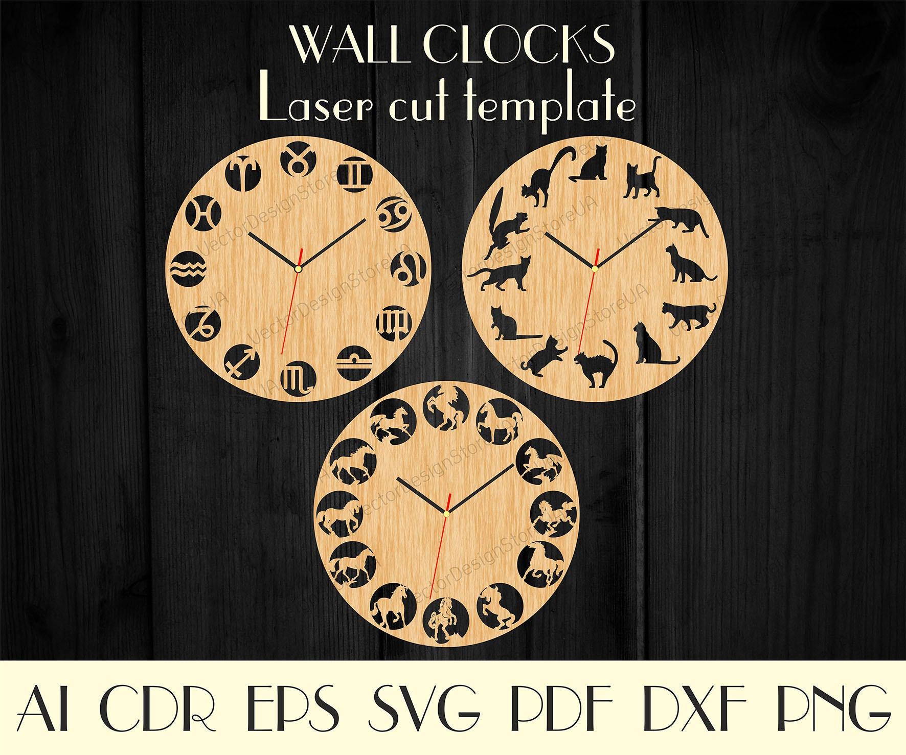 Set 3Pcs Unique clocks, Horses decor, Cats decor, Laser cut template ...