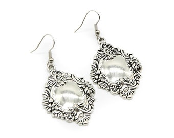 Antique Baroque Silver Charm Earrings