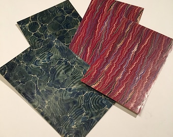Antique Marbled Paper Pack, Four-Pack of Assorted 19th Century Paper, Red and Blue Crafting Paper